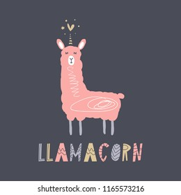 Vector cartoon cute hand drawn llama unicorn art. Pastel nursery text card. It may be used for sticker, poster, postcard, badge, layout, greeting card, patch, wall art, phone case, t-shirt