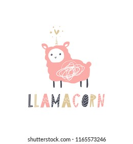 Vector cartoon cute hand drawn chibi llama unicorn art. Pastel nursery text card. It may be used for sticker, poster, postcard, badge, layout, greeting card, patch, wall art, phone case, t-shirt