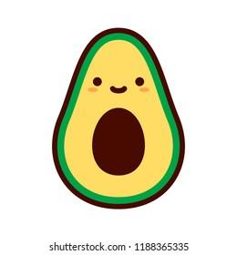 Vector Cartoon Cute Happy Avocado Icon Isolated