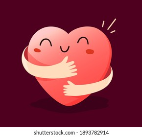 Vector cartoon cute happy heart character with smile and hands hugging self on dark background, love yourself