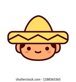 Vector Cartoon Cute Happy Mexican Boy Icon Isolated