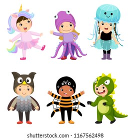Vector cartoon of cute kids in animal costumes set. Carnival clothes for children.