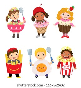 Vector cartoon of cute kids in food costumes set. Carnival clothes for children.
