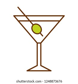 Vector Cartoon Cute Martini Glass Icon Isolated On White Background