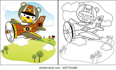 vector cartoon of cute pilot on military plane, coloring book or page