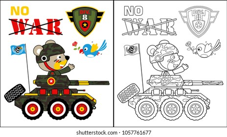 vector cartoon of cute soldier on military vehicle, coloring book or page