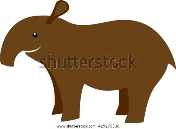Vector Cartoon Cute Tapir Stock Vector Royalty Free 429275536