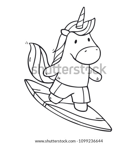 Vector Cartoon Cute Unicorn Boy Surfer Stock Vector Royalty Free