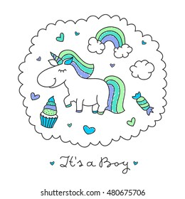 vector cartoon cute unicorn with rainbow, clouds and sweets
