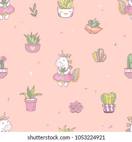 Vector cartoon cuteseamless pattern with  unicorn girl with succulent cactus pot in hands on pink background