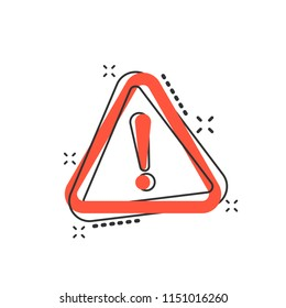 Vector cartoon danger icon in comic style. Attention caution sign illustration pictogram. Danger business splash effect concept.