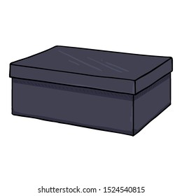 Vector Cartoon Dark Blue Shoes Box