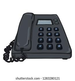 Vector Cartoon Dark Grey Office Telephone