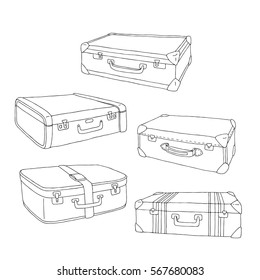 Vector cartoon decorative old retro suitcases. Hand drawn set of suitcases. Doodle illustration