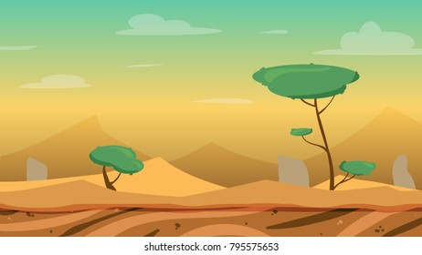 Vector cartoon desert lanscape with dunes, stones and trees. Perfect for game background