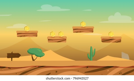 Vector cartoon desert lanscape with dunes, stone, tree, pointer and cactus for game background with levels and coins