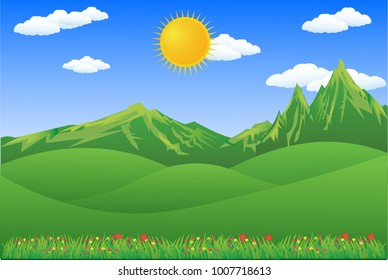 Vector cartoon design of a beautiful green Landscape with trees and mountains summer landscape Valley in Summer day.Scenery with sunlight on cloudy sky Illustration.