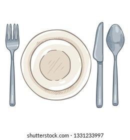 Vector Cartoon Dining Set - Steel Fork, Knife, Spoon and Porcelain Plates.
