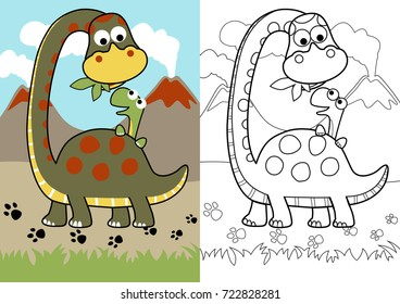 vector cartoon of dino feed his son, coloring page or book