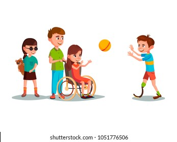 Vector cartoon disabled teen kids characters with restriction of movement playing using medical equipment set. Girl in wheelchair playing boy with leg prosthesis, blind female character with bear toy.