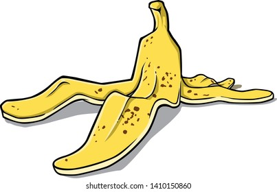 Vector cartoon of discarded banana peel.