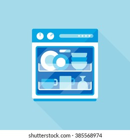 vector cartoon dishwasher / flat style image, long shadow, icon template, drawing / clean blue tone