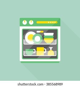 vector cartoon dishwasher / flat style image, long shadow, icon template, drawing / duotone design, green and yellow
