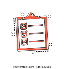 Vector cartoon to do list icon in comic style. Checklist, task list sign illustration pictogram. Reminder business splash effect concept.