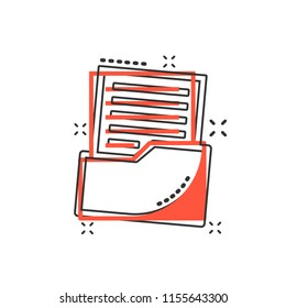 Vector cartoon document icon in comic style. Archive data file sign illustration pictogram. Document business splash effect concept.