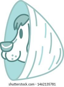 Vector Cartoon Dog With Elizabethan Collar Emoji Icon Isolated
