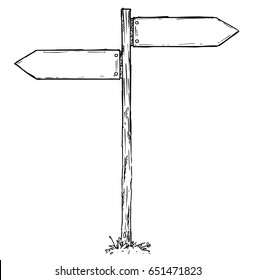 Vector cartoon doodle hand drawn crossroad wooden direction sign with two arrows pointing  left and right as decision guide