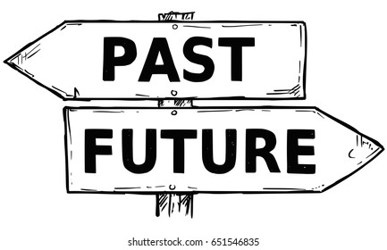 Vector cartoon doodle hand drawn crossroad wooden direction sign with two arrows pointing  left and right as past or future decision guide