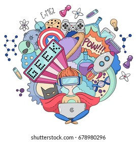 Vector cartoon doodle illustration, Background, wallpaper, pattern, texture, backdrop, Geek nerd gamer