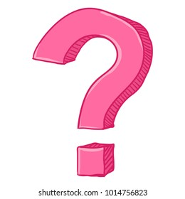 Vector Cartoon Doodle Pink Question Mark on White Background