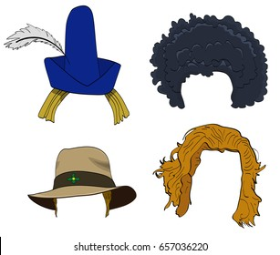 Vector cartoon doodle set of wigs with hats, afro wig on a white background.