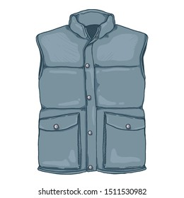 Vector Cartoon Down Vest. Blue Waistcoat Illustration.