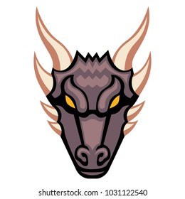 Vector Cartoon Dragon Head Isolated On White Background