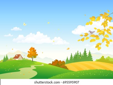 Vector cartoon drawing of an autumn countryside landscape