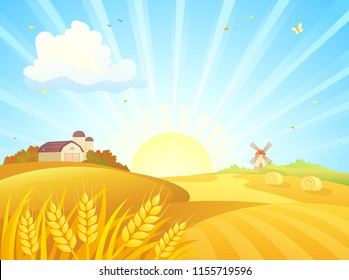 Vector cartoon drawing of an autumn sunrise landscape with wheat fields, barns and a windmill