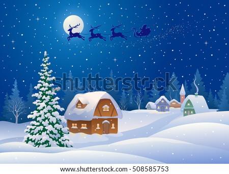 Vector Cartoon Drawing Beautiful Christmas Wonderland Stock Vector ...