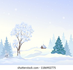 Vector cartoon drawing of a beautiful snowy landscape with a small house and snow covered forest, winter morning nature background