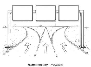 Vector cartoon drawing of blank empty road sign on three lines highway.