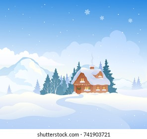 Vector cartoon drawing of a Christmas mountain landscape with a snow covered cottage