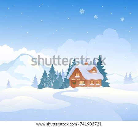 vector cartoon drawing of a christmas mountain landscape with a snow covered cottage - Christmas Mountain