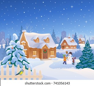 Vector cartoon drawing of Christmas suburban houses and kids making a snowman