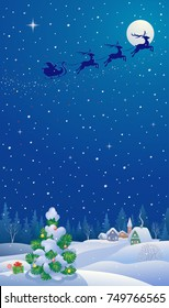 Vector cartoon drawing of a Christmas tree and a winter night village, vertical design banner