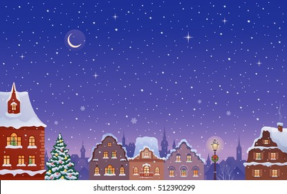 Vector cartoon drawing of a Christmas winter night town, beautiful view with snowy rooftops