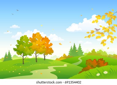 Vector cartoon drawing of a colorful autumn woodland