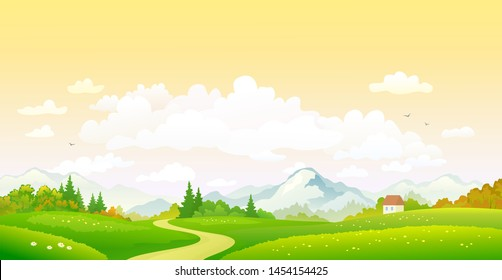 Vector cartoon drawing of a colorful fall landscape, sunset sky background