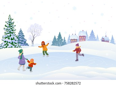 Vector cartoon drawing of cute kids skating in a snowy village, on a white background